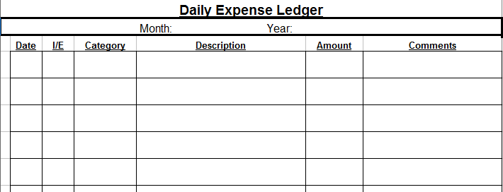 Daily Expense Ledger  Printable Expense Sheet