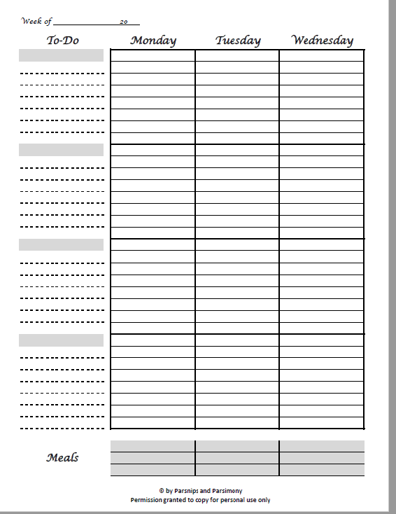 Free Printable 2-page weekly Planner Work Sheet Pic 1
